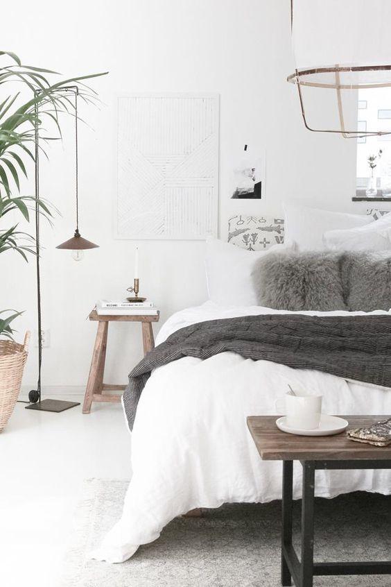 Chambre à coucher hygge minimaliste