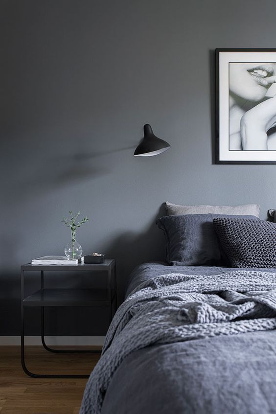 Hygge bedroom - shades of grey