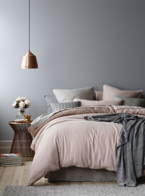Grey Pink Copper hygge bedroom