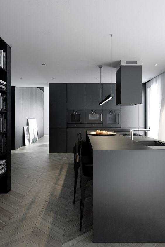 Less is More Interieur - cuisine noire