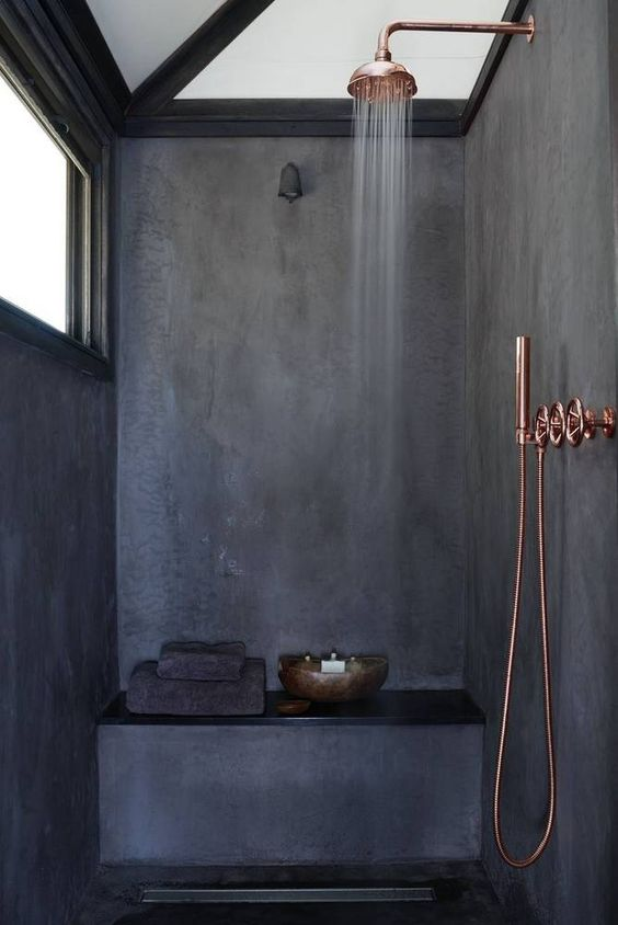 black mortex and copper bathroom