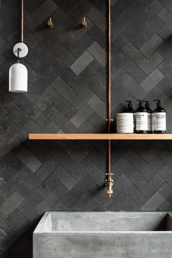 black tiles and concrete