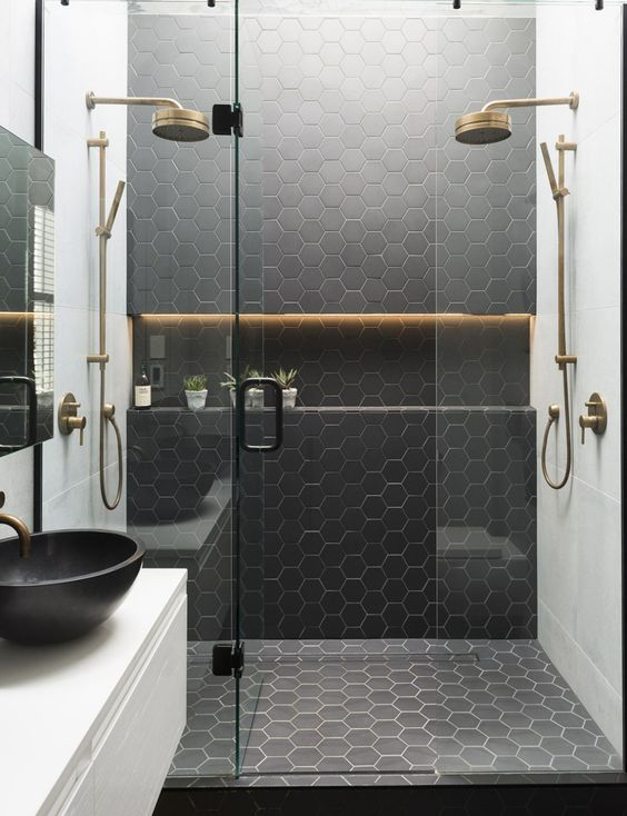 hexagonal black tiles