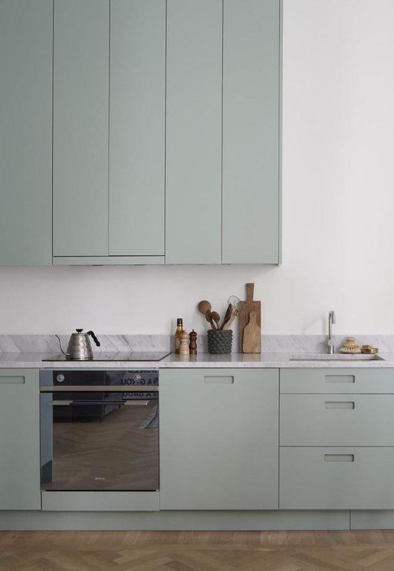 LM Interieur - cuisine dusty green et marbre