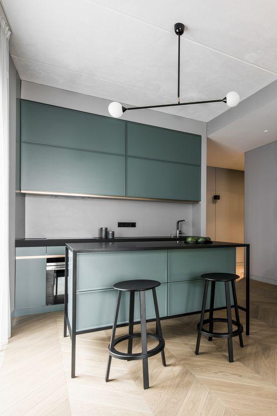LM Interieur - cuisine verte et noire
