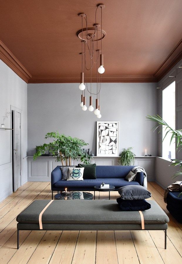 ferm living salon terracotta et bleu