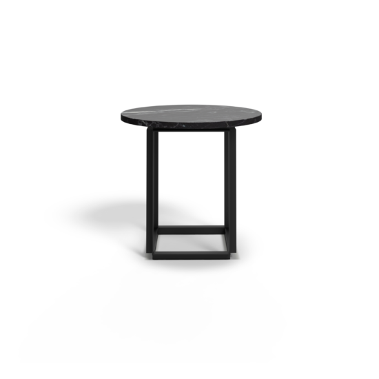 Florence Coffee Table Ø50 cm Black Marquina Front