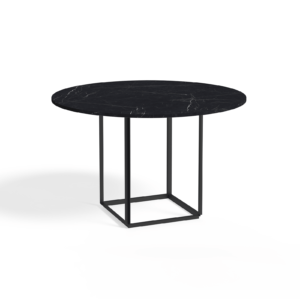 Florence Dining Table Ø120 Iron Black Black Marble Side view White Background