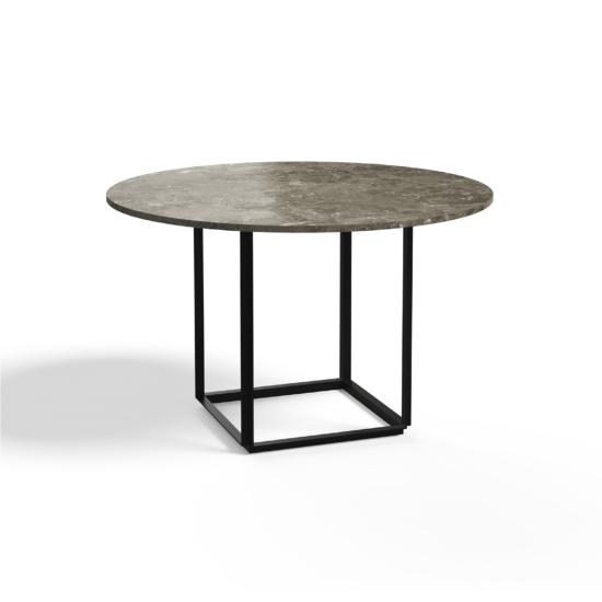 Florence Dining Table Ø120 Iron Black Gris du Marais Side view 2021 white Background 2021