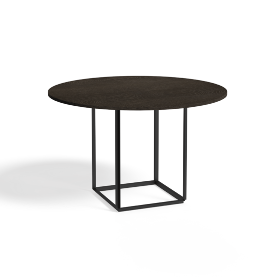 Florence Dining Table Ø120 Iron Black Smoked Oak Side view White Background