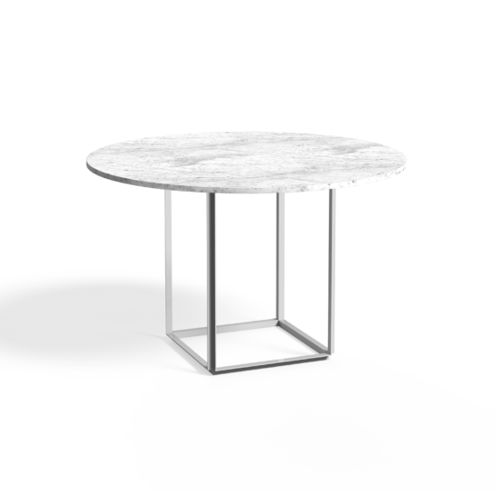 Florence Dining Table Ø120 Peal White White Marble Side view White Background