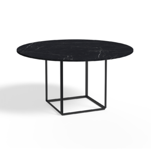 Florence Dining Table Ø145 Iron Black, Black Marble Side view White Background