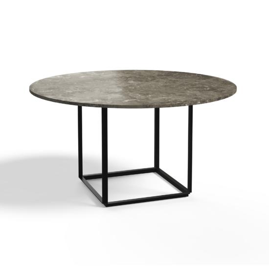 Florence Dining Table Ø145 Iron Black, Gris du Marais Marble Side view White Background 2021