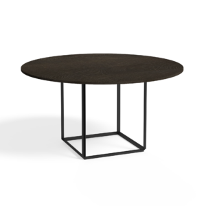 Florence Dining Table Ø145 Iron Black Smoked Oak Side view White Background