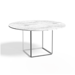 Florence Dining Table Ø145 Peal White, White Marble Side view White Background