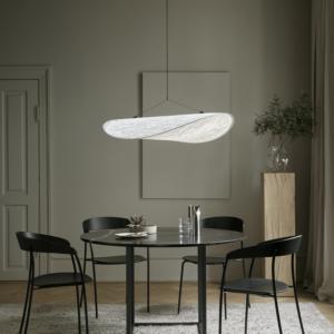 New Works_Spring_2021_Florence Dining Table_Ø120_Black Marquina_Missing Chair_Black Oak_Tense Pendant_Ø90