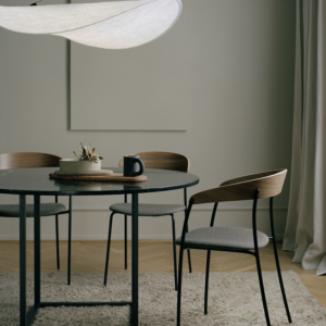 New Works_Spring_2021_Tense Pendant_Ø90_Florence Dining Table_Ø120_Black Marquina_Missing Chair_Walnut_2_Winter