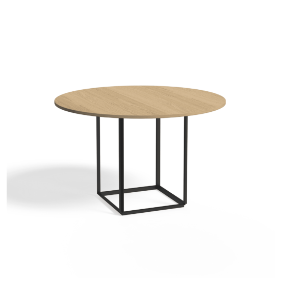 Florence Dining Table Ø120 Iron Black Natural Oak Side view White Background