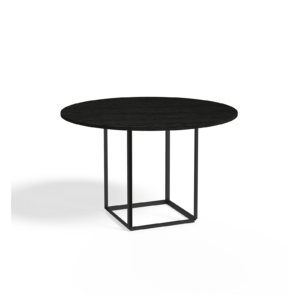 Florence Dining Table Ø120 Iron Black Stained ash Side view White Background