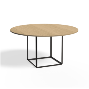 Florence Dining Table Ø145 Iron Black Natural Oak Side view White Background