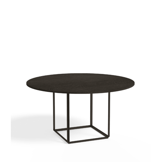 Florence Dining Table Ø145 Iron Black Smoked Oak Side view White Background (1)