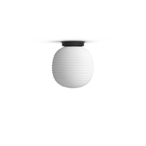 Lantern Globe Lamp, Small - Black Base w. Frosted White Opal Glass
