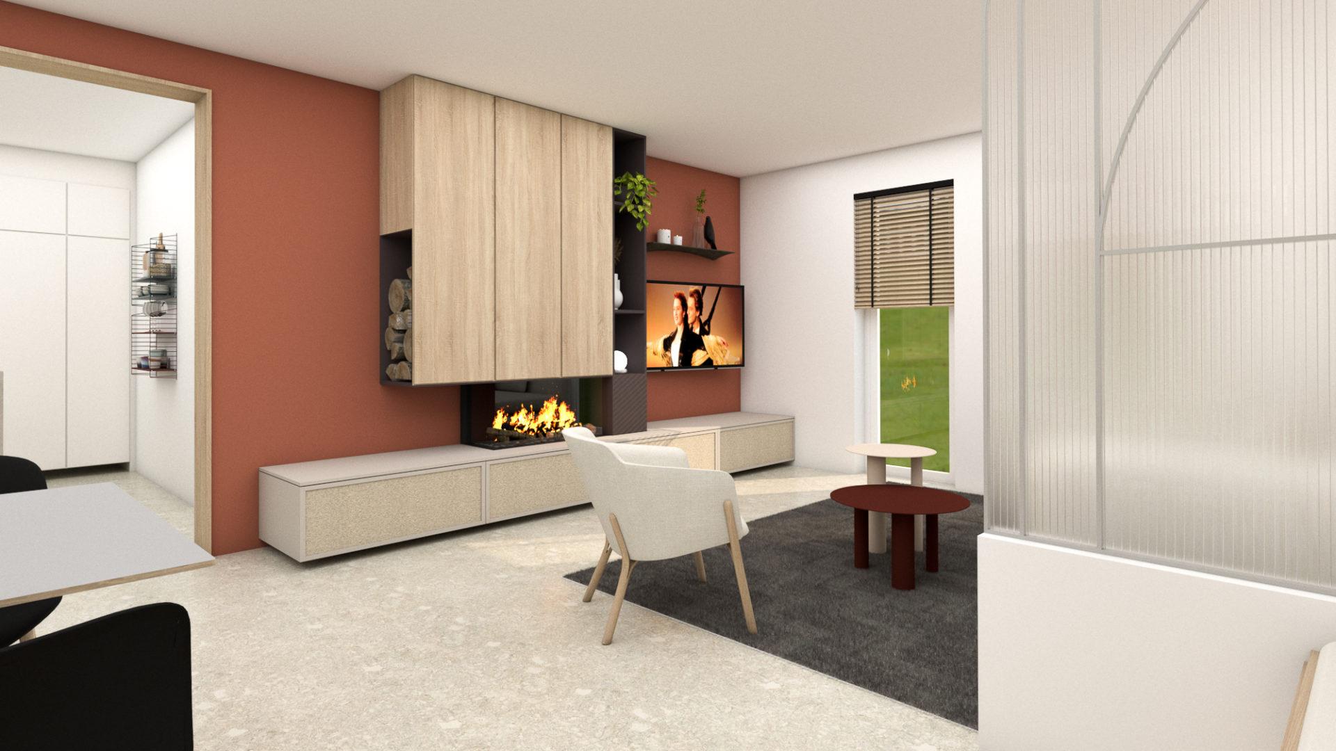 Maison Aubel - rendu meuble TV insert terracotta